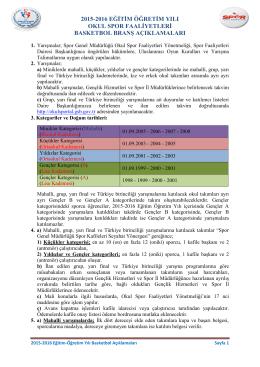 2015-2016 BASKETBOL BRANŞ AÇIKLAMALARI