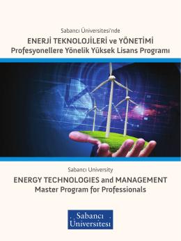 ENERJİ TEKNOLOJİLERİ ve YÖNETİMİ Profesyonellere Yönelik
