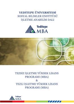 Yeditepe MBA E-Catalog - Yeditepe Üniversitesi