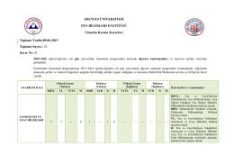 2015-2016 Eğitim-Öğretim Yılı Güz Yarıyılında Lisansüstü