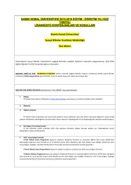 Namık Kemal Üniversitesi Yüksek Lisans Programları