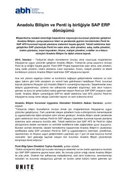 Anadolu Bilişim ve Penti iş birliğiyle SAP ERP dönüşümü