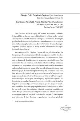 Giorgio Colli, Felsefenin Doğuşu / Çev. Fisun Demir Dominique