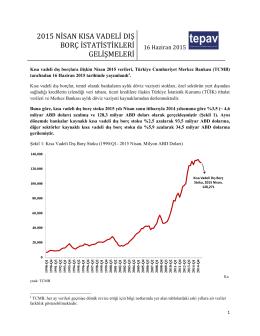2015 Nisan TEPAV Kısa Vadeli Dış Borç İstatistikleri Bülteni ve