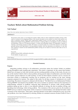 Teachers` Beliefs about Mathematical Problem Solving