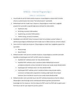 MYB215 – İnternet Programcılığı 1