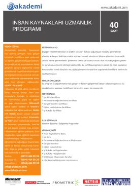İnsan Kaynakları Uzmanlık Programı Kurs Detaylarını İndir - İ