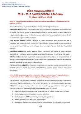 türk anayasa düzeni 2014 – 2015 bahar dönemi