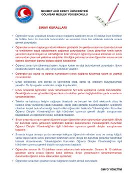 sınav kuralları - Gölhisar Meslek Yüksekokulu