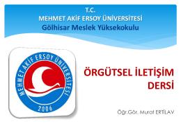 Örgütsel İletişim - Mehmet Akif Ersoy Üniversitesi