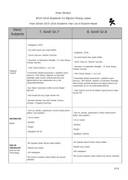 Ders/ Subjects 7. Sınıf/ Gr.7 8. Sınıf/ Gr.8