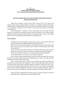 İlan Metni için Tıklayınız - İzmir Güney Kamu Hastaneleri Birliği