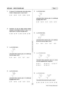 BÖLME - BÖLÜNEBİLME Test -1