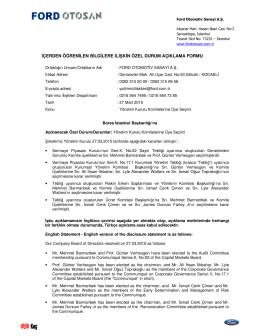 Yönetim Kurulu Komitelerine Üye Seçimi dökümanını