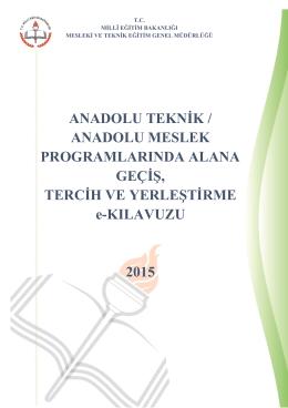 Alana Geçiş e-Kılavuz - Meslekî ve Teknik Eğitim Genel Müdürlüğü
