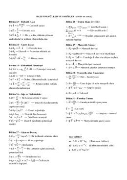 BAZI FORMÜLLER VE SABİTLER (sabitler en sonda) Bölüm 23