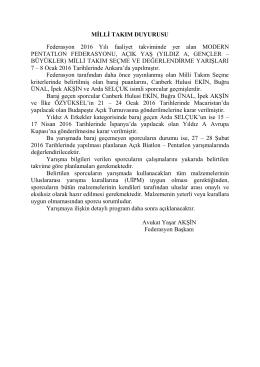 milli takım duyurusu - TÜRKİYE Modern Pentatlon Federasyonu