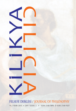 Dergi Künyesi / Front Matter, Kilikya Felsefe Dergisi, (2).