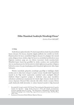 Dilin Mantıksal Analiziyle Metafiziği Eleme
