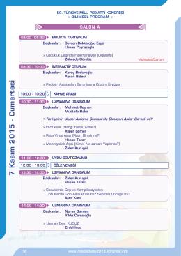 7 Kasım 2015 - Cu martesi - 59. türkiye milli pediatri kongresi