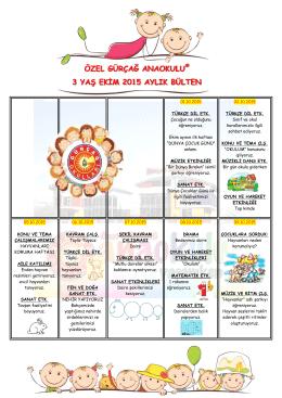 özel gürçağ anaokulu® 3 yaş ekim 2015 aylık bülten