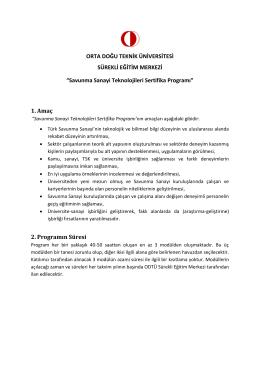Savunma Sanayi Teknolojileri Sertifika Programı
