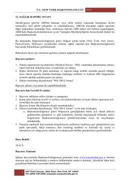 12. Sağlık Raporu Onayı Başvurusu