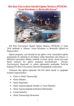 """Pîrî Reis Üniversitesi Sürekli Eğitim Merkezi (PÜSEM) """"Gemi"""