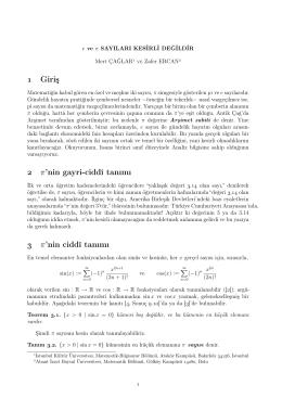 Giriş π`nin gayri-ciddî tanımı π`nin ciddî tanımı XX