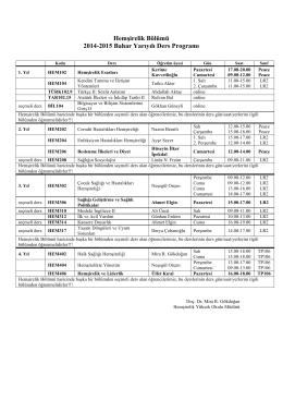 Hemşirelik Bölümü 2014-2015 Bahar Yarıyılı Ders Programı