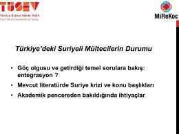 Türkiye`deki Suriyeli Mültecilerin Durumu