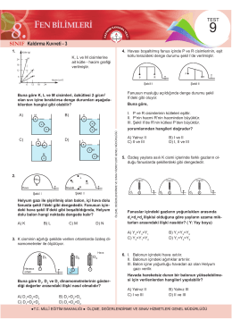 8. Sınıf Fen Bilimleri Kazanım Kavrama Testi 9