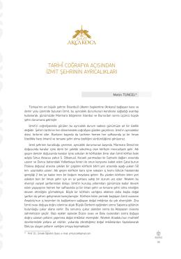 Prof. Dr. Metin TUNCEL-Tarihi Coğrafya Açısından İzmit Şehrinin