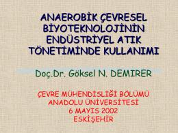 Doç.Dr. Göksel N. Demirer, Çevre Mühendisliği Bölümü, ODTÜ