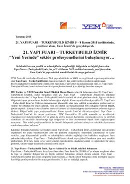 """21. YAPI FUARI – TURKEYBUILD İZMİR """"Yeni Yerinde"""" sektör"""