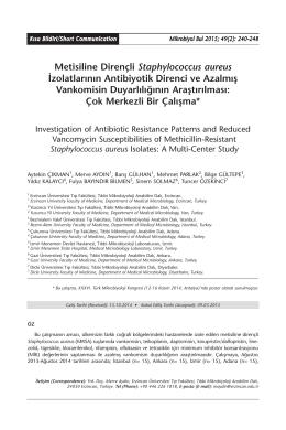 Metisiline Dirençli Staphylococcus aureus İzolatlarının Antibiyotik