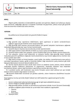 İhlal Bildirimi - Mersin Kamu Hastaneleri Birliği