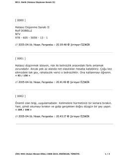 [ 0000 ] Hatasız Düşünme Sanatı II Rolf DOBELLI NTV 978