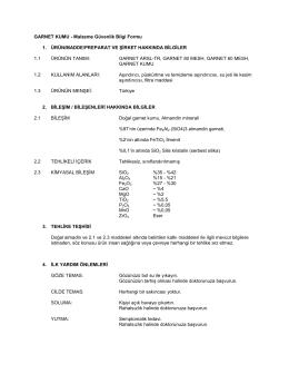 GARNET KUMU - Malzeme Güvenlik Bilgi Formu 1
