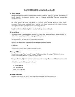 rapor hazırlama kuralları - U.Ü. Makine Mühendisliği