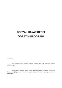 SOSYAL HAYAT DERSĠ ÖĞRETĠM PROGRAMI