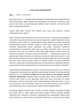 İl/İlçe Sağlık Müdürlüklerine Verilebilecek Yazı Taslağı