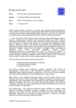 10 Haziran 2015 tarihli Swift Türkiye Kullanıcı Grubu Toplantıs