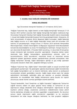I. Ulusal Halk Sağlığı Hemşireliği Kongresi Sonuç Bildirgesi