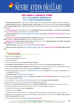 9 ve 10.Sınıflar - Nesibe Aydın Eğitim Kurumları