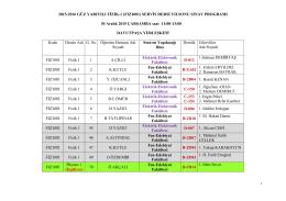 2015-2016 GÜZ YARIYILI FİZİK-1 (FIZ1001) SERVİS DERSİ