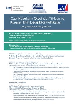 Türkiye ve Küresel İklim Değişikliği Politikaları