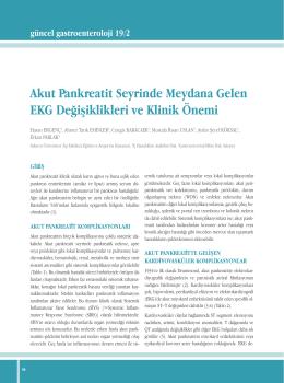 Akut Pankreatit Seyrinde Meydana Gelen EKG Değişiklikleri ve