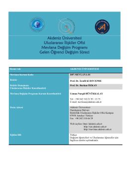 Akdeniz Üniversitesi Uluslararası İlişkiler Ofisi Mevlana Değişim