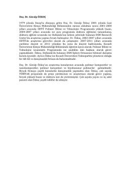 Doç. Dr. Güralp ÖZKOÇ 1979 yılında Sinop`ta dünyaya gelen Doç